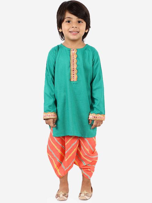 KID1 Round neck kurta with lehariya dhoti