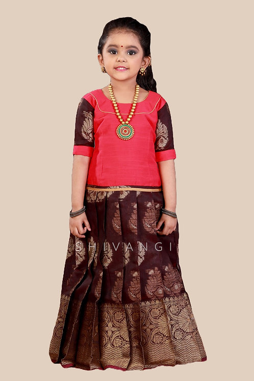 Shivangi Girls Cap Lilly Pavadai set   Lehenga