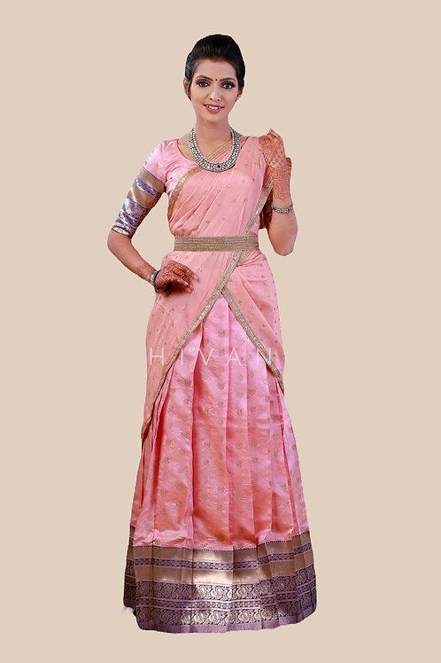 Shivangi Lotus Pond Half Saree for Teenager in Pink