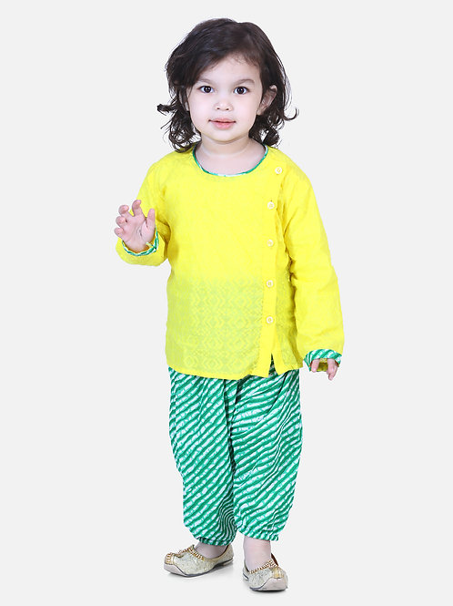 Bow n Bee Boys Front Open Cotton Kurta With Harem in Yellow
