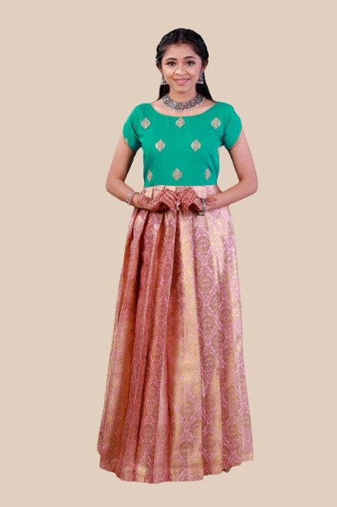 Shivangi Girls Golden Jacquard Long Gown !!! – AM67LPK