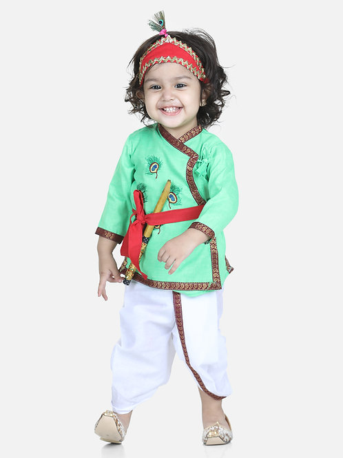 Bow N Bee Little Cotton Kanhaiya Suit Dress in Green