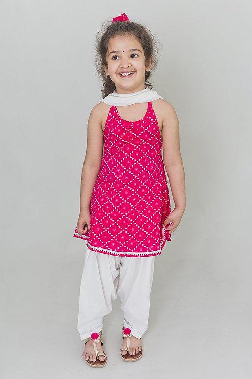 Tiber Taber Baby Girls Pink Bandhani Suit Set