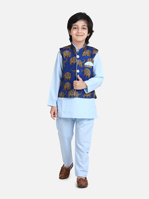 Kidswear Children Ethnic Blue Colored Jacket Kurta Pajama