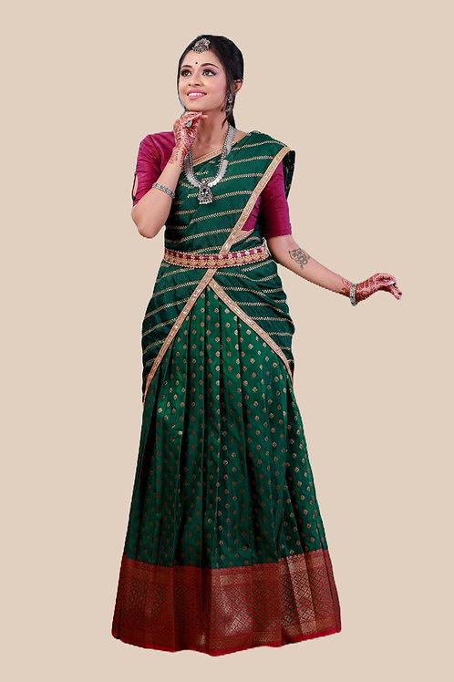 Shivangi Girls Satin Bhutta Zari Half saree   Langa Dhavani !!! – AN19GR