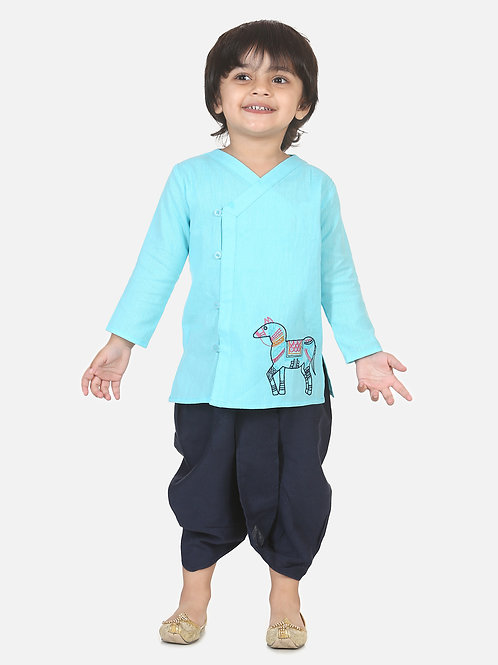 Bow n Bee Boys Horse embroidery front open dhoti kurta in Blue