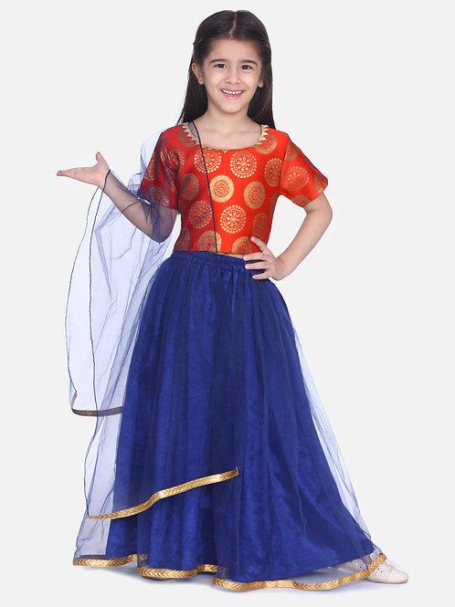 Kidswear Girls Bow n Bee Orange Jacquard Top with Net Lehenga