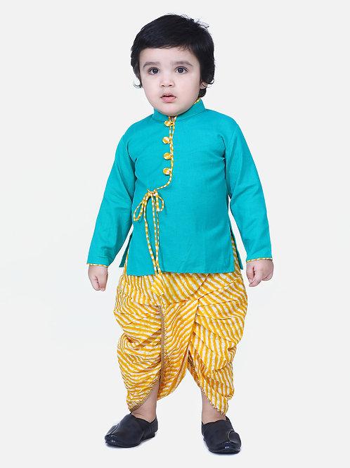 Kidswear Boys Dhoti Front open Green Kurta