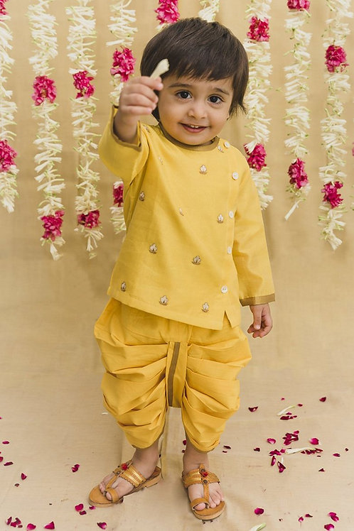 Tiber Taber Baby Boy Yellow Embroidered Chanderi Buta Dhoti Set