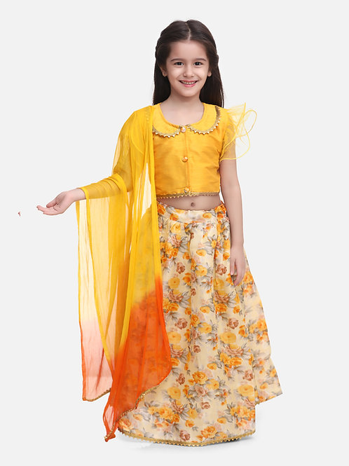 Bow N Bee Ruffle Sleeve Collar Choli With Floral Lehenga in Yellow