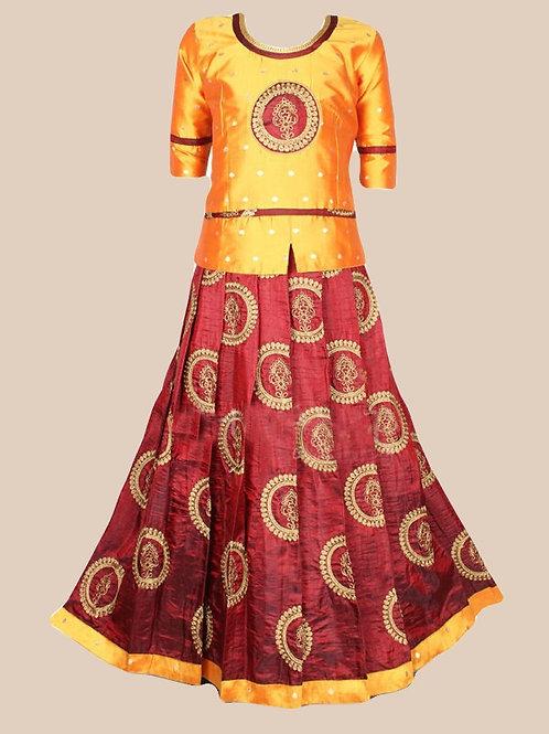 Shivangi Girls Banarasi Silk Embroidery Pavadai Set !!! -AK72MR