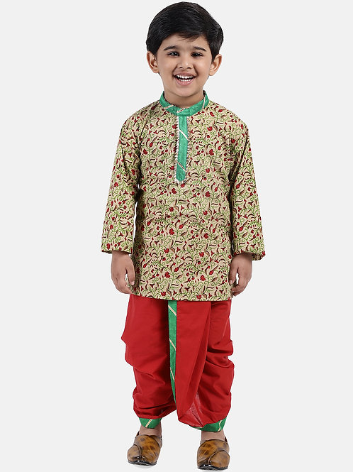 Readymade Bow n Bee Boys Beige Jaipuri Print Cambric Cotton Dhoti Kurta