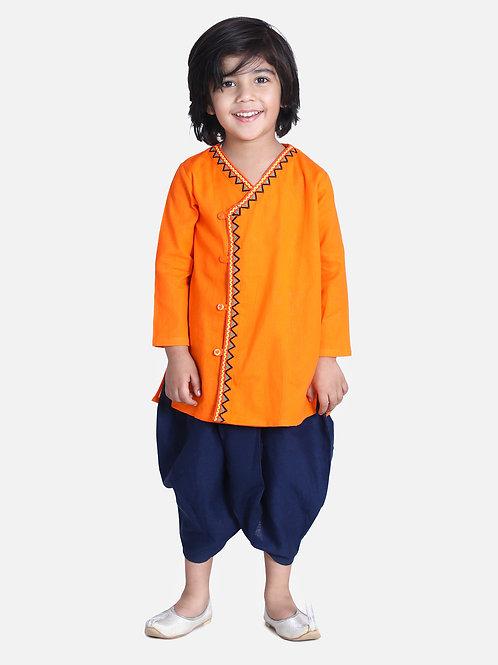 Bow n Bee Boys Orange Front Open Embroidered Kurta Dhoti