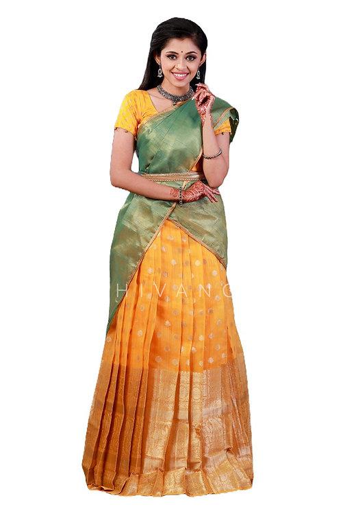 Shivangi Mango Stream Half Saree for Teenager in Yellow
