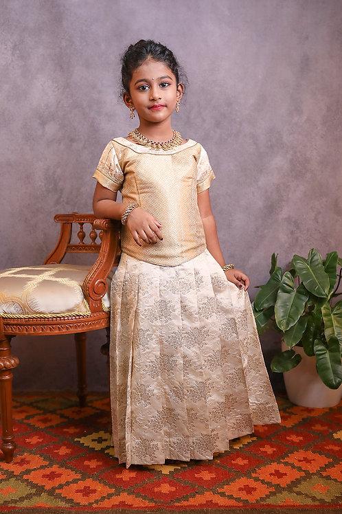 Shivangi Girls Golden Rose Bunch Pattu Pavadai