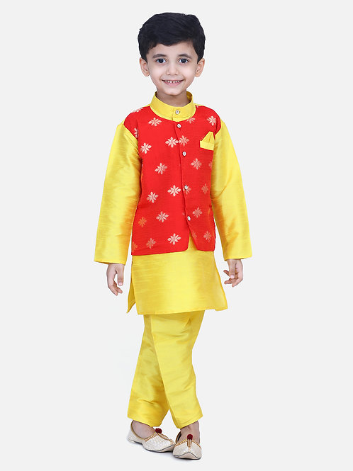 Kidswear Bow n Bee Chiffon Jacket Full Sleeve Kurta Pajama in Yellow