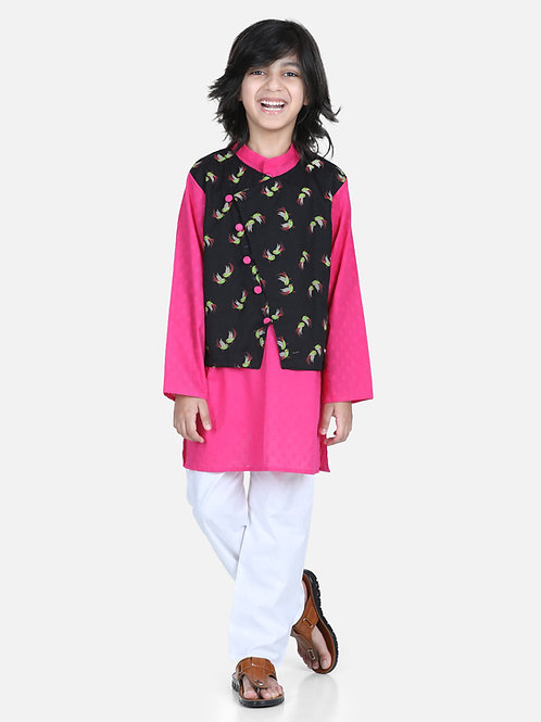 Bow n Bee Attached Jacket Kurta Pajama for Boys in Black