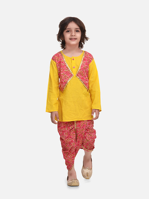 Bow n Bee Boys Block Print Jaipuri Cotton Dhoti Kurta in Yellow