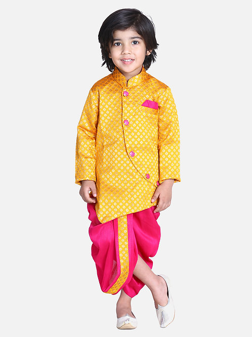 Kidswear Bow n Bee Boys  Yellow Jacquard Front Open Sherwani