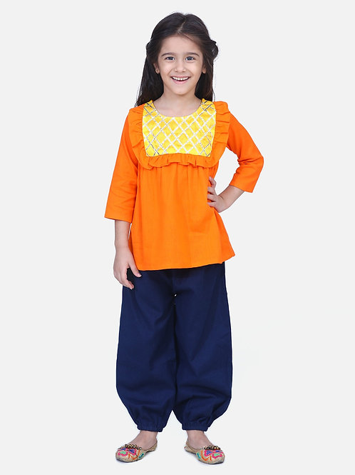 Bow n Bee Girls Indo western Top with Harem Pants in Orange