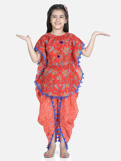 Bow N Bee Cotton Kaftan Dhoti Set for Girls in Orange