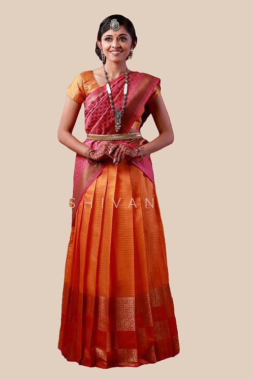 Shivangi Girls Golden Tiles Half Saree   Langa Voni !!! – AN07OR