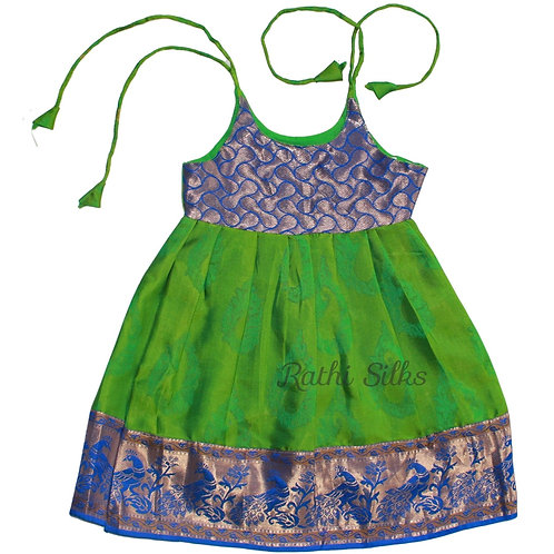 Pure Silk Shoulder Knot Baby Frocks in Pasi Green