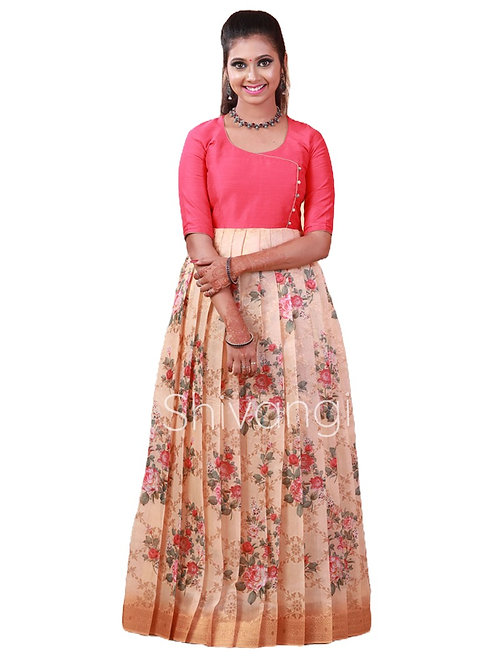 Shivangi Digital Print Long Gown in Sandle