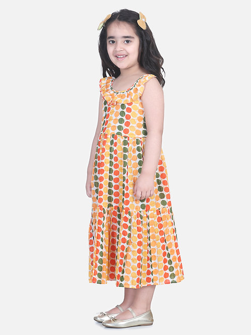 Bow N Bee Girls  Polka Dot Tier Halter Neck Gown in Yellow