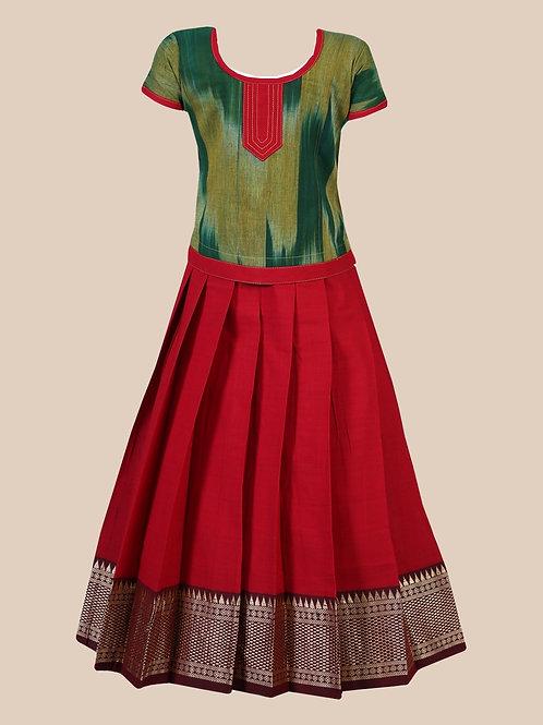 Shivangi Girls Cotton Temple Border Pavadai Set   Lehenga !!!- AN57RD