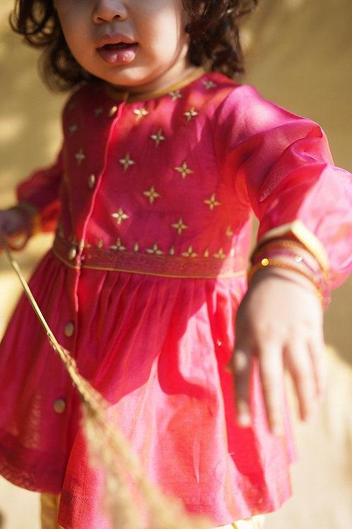 Tiber Taber Baby Girl Pink Chanderi Buta Angrakha Set