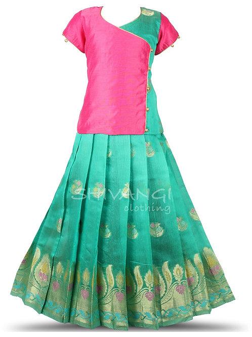 Shivangi Girls Floral Fire Pattu Pavadai | Lehenga