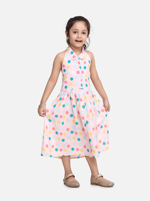 Bow N Bee Baby Girls Halter Neck Collar Frock in Light Pink
