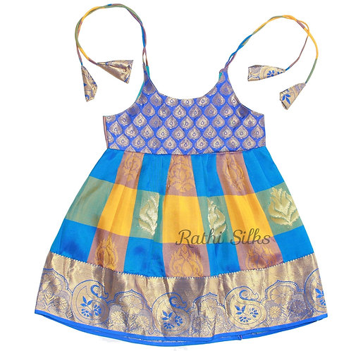 Pure Mix Shoulder Knot Baby Frocks in Blue