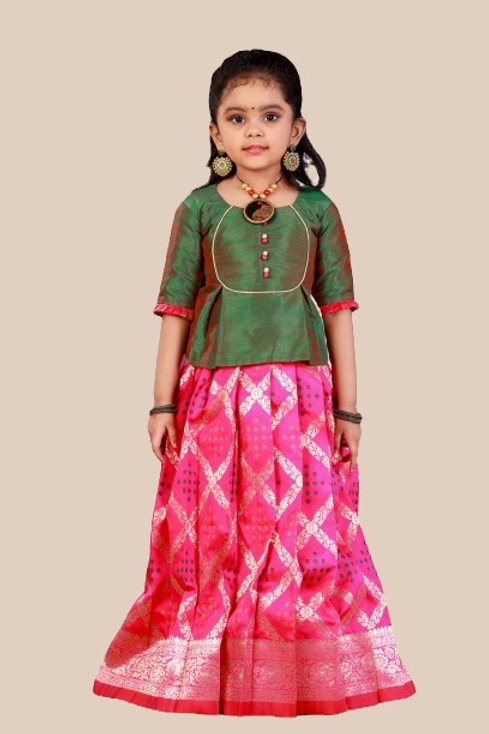 Shivangi Girls Bandhini Jacquard Pavadai Set !!! – AN39PK