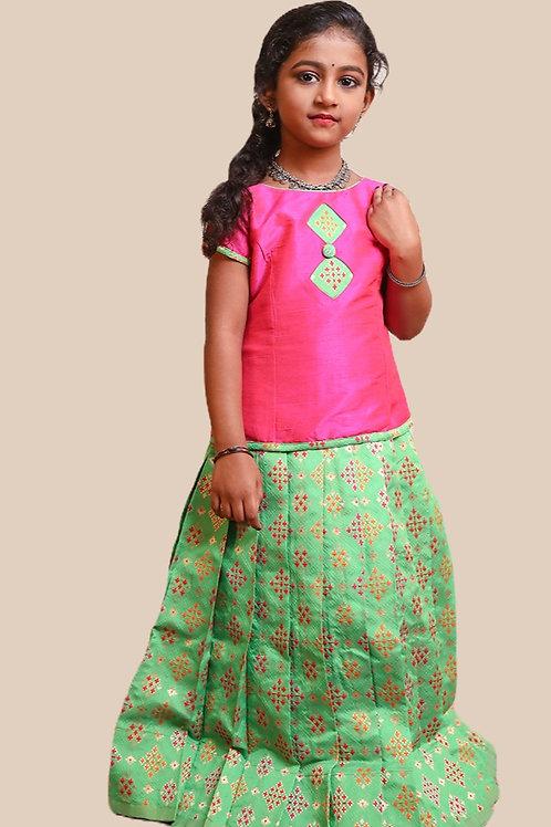 Shivangi GirlsPatola Diamond Pavadai set | Lehenga !!!