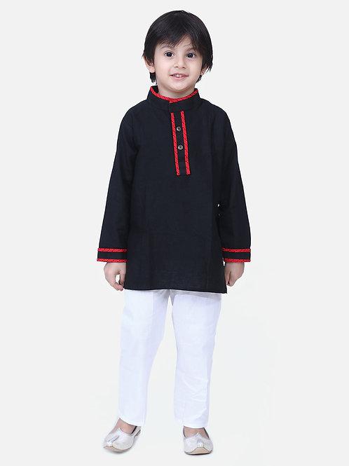 Kidswear Boys Bow n Bee Black Full Sleeve Stand Collar Kurta Pajama