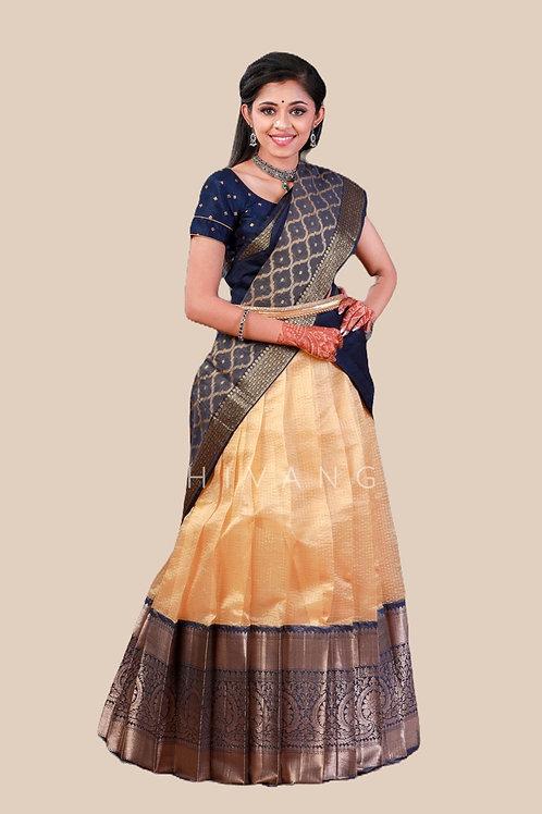 Shivangi Checks Mughal Pattu Half Saree dhavani