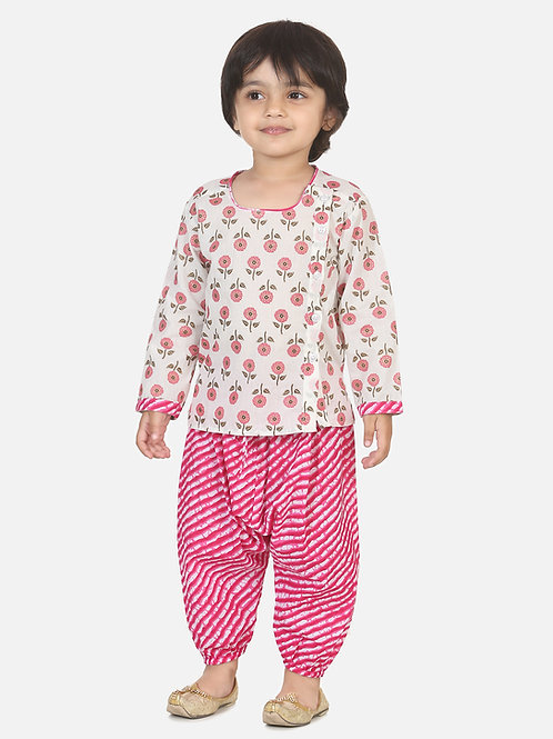 Bow n Bee Boys Front Open Cotton Kurta With Harem in Pink