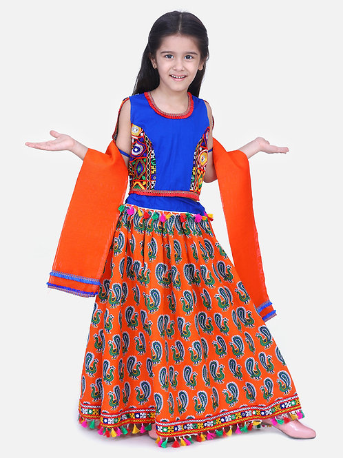 Bow N Bee Mor Print Chaniya Choli With Frill Dupatta in Orange