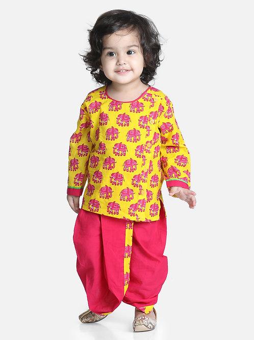 Bow N Bee Hathi Print yellow Infant Cotton Dhoti kurta