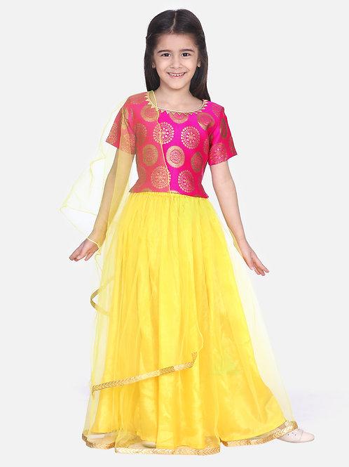 Kidswear Girls Bow n Bee Pink Jacquard Top with Net Lehenga
