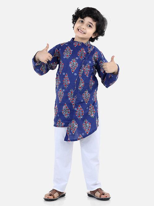 Bow N Bee Front Open Cotton Kurta Pyjama in Indigo