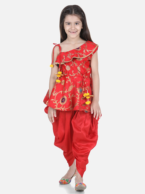 Bow N Bee One Shoulder Ruffle Peplum Red Dhoti Set