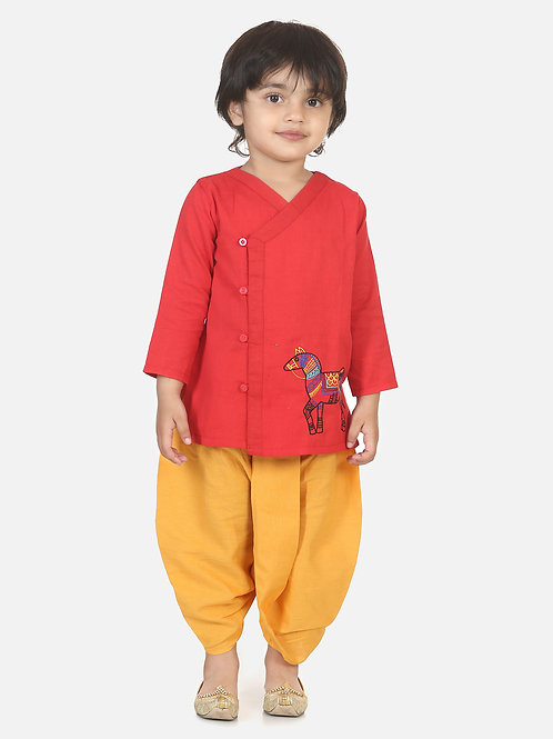 Bow n Bee Boys Horse embroidery front open dhoti kurta in Red