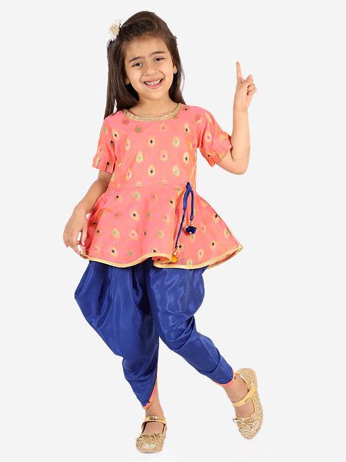 KID1 Girls Nitara Festive peplum with dhoti in pink