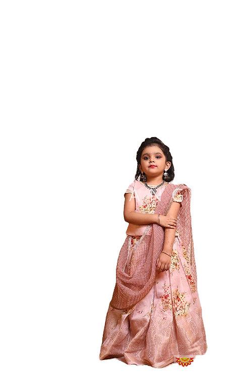Shivangi Girls Digital print Pattu Pavadai | Lehenga