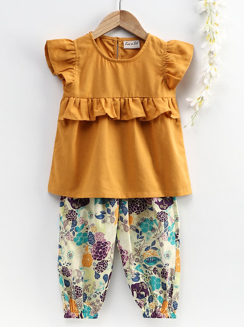 Bow N Bee Girls Ruffle Cotton Top With Harem Pant in Yellow