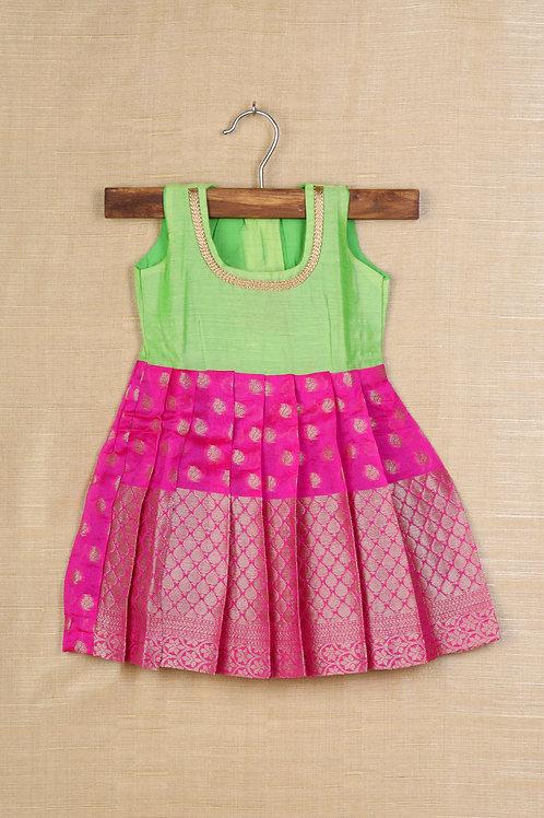 Shivangi Pink Baby Banaras Frocks For Little Ones !!!