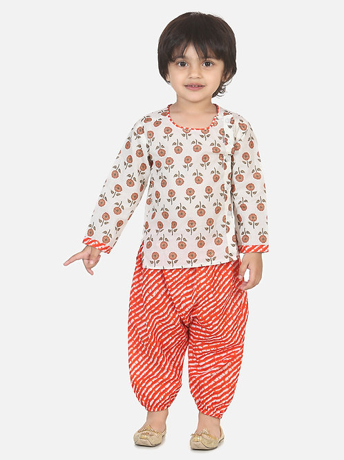 Bow n Bee Boys Front Open Cotton Kurta With Harem in Orange